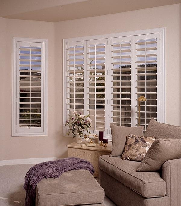 white interior shutters